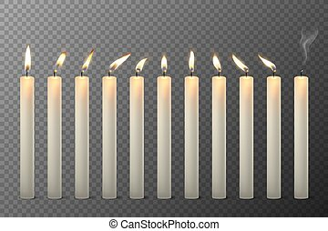 Vector 3d Realistic White Paraffin or Wax Burning Candles ...