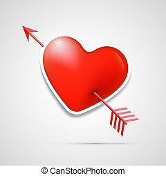 Vector 3d red heart pierced with an arrow