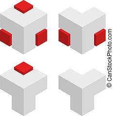 vector, 3d, resumen, cubos