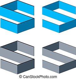vector, 3d, resumen, s de carta, símbolos
