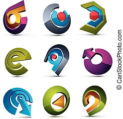 Vector 3d simple navigation pictograms collection. Set of colorful corporate abstract design elements. Arrows and circular web icons.