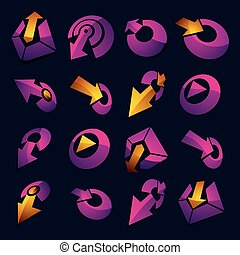 Vector 3d simple navigation pictograms collection. Set of purple corporate abstract design elements. Arrows and circular web icons.