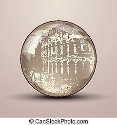 Vector 3D sphere with a colloseum pattern