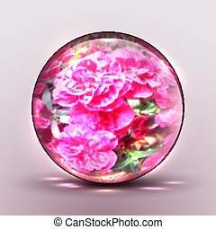 Vector 3D sphere with a pattern of flowers