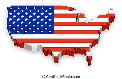 Vector 3D USA map flag