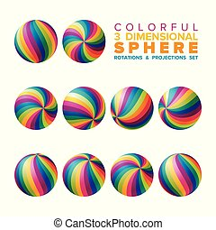 Vector 3d vibrant color striped sphere rotations and ...