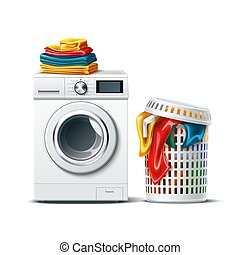 Vector 3d washing machine and laundry basket