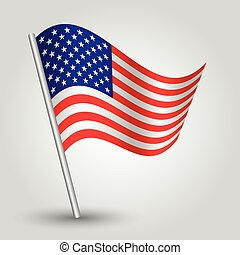 vector 3d waving american flag on pole - national symbol of...