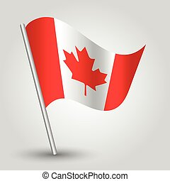 vector 3d waving canadian flag on pole - national symbol of...