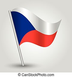 vector 3d waving czech flag on pole - national symbol of Czech Republic with inclined metal stick