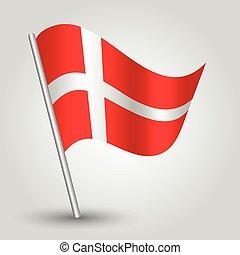 vector 3d waving danish flag