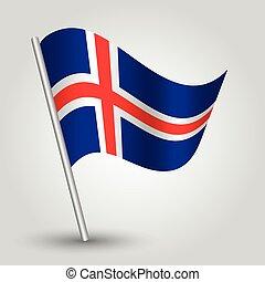 vector 3d waving icelandic flag