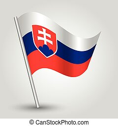 vector 3d waving slovak flag on pole - national symbol of Slovakia with inclined metal stick