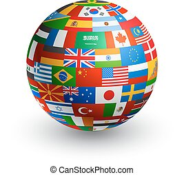 vector 3D World Flag Globe - A 3D globe composed by the...