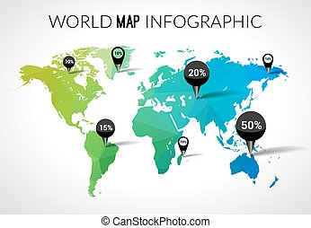 World map infographic concept vector business infographic vector 3d world map with points and percantage triangle green blue travel globe world map gumiabroncs Gallery