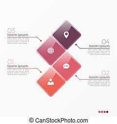 Vector 4 option infographic template with squares