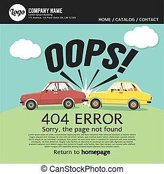 vector, 404, error, no, fundar, página