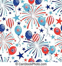 vector 4th of July seamless pattern with balloons and...