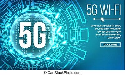 vector., 5g, 基準, 無線, 背景, 未来, インターネット, wi - fi, connection., イラスト技術, network., telecommunication.