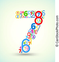 vector, 7, getal, gekleurde, lettertype, getallen