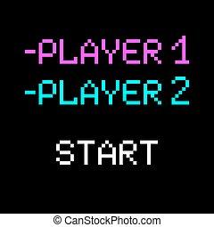 Vector 8 bit Player - Vector 8 bit pixel art phrases Player...