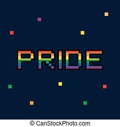 Vector 8 bit Pride color pixel retro card