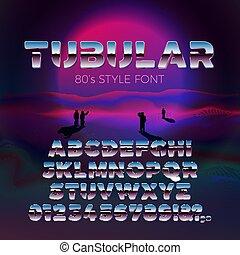Vector 80s retro futurism style font, violet sun