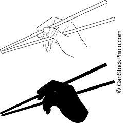 Vector. A hand holding chopsticks. Oriental cuisine....