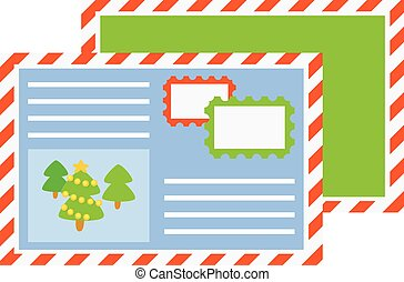Vector a letter to Santa Claus isolated on white. Cartoon style. Cute funny icon. illustration.