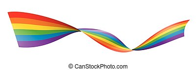 Vector a rainbow flag waving on white background.