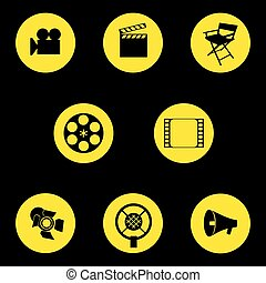 Vector. A set of cinematographic icons. Movie maker's accessories. Graphic isolated illustration. Director's chair, camera, cut, tape, speaker, microphone, projector.