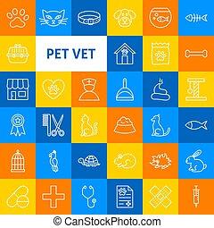 vector, aanhalen, dierenarts, lijn, iconen