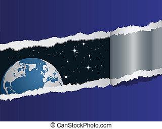 vector, aanzicht, op, aarde, in, ruimte