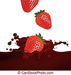 vector, aardbeien, gespetter, choco