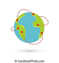 vector, aarde, reizen, illustratie