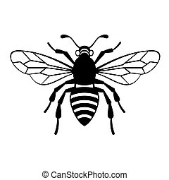 vector, abeja, icono