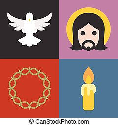 Vector about christian and church icons set, flat design