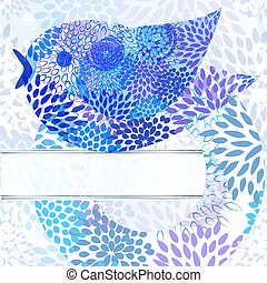 vector abstarct background with floral circle, bird,  and place for your text