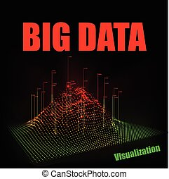 Vector abstract 3D big data visualization. Technology background