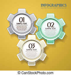 vector abstract 3d gear infographics