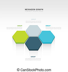 vector abstract 3d hexagonal paper infographic elements 4 color
