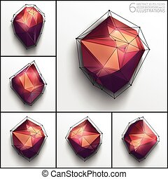 Vector abstract 3d polygons - 6 vector illustrations of...
