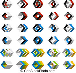vector abstract 3D square icons