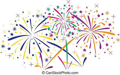 vector abstract anniversary bursting fireworks with stars...