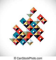 Vector abstract art symbol made with squares, modern style graphic element. Asymmetric figure, created from squares and blocks can be used in corporate design.