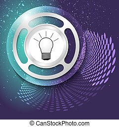 Vector abstract background and silver object with bulb