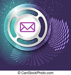 Vector abstract background and silver object with envelope