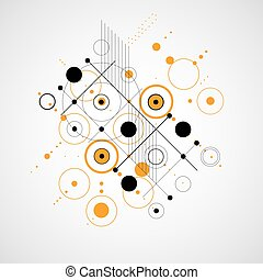 Vector abstract background created in Bauhaus retro style. Modern geometric composition can be used as templates and layouts.