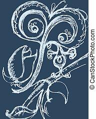 Bird on a branch, vector card