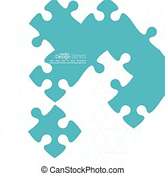 Vector abstract background from pieces of puzzle and a ...
